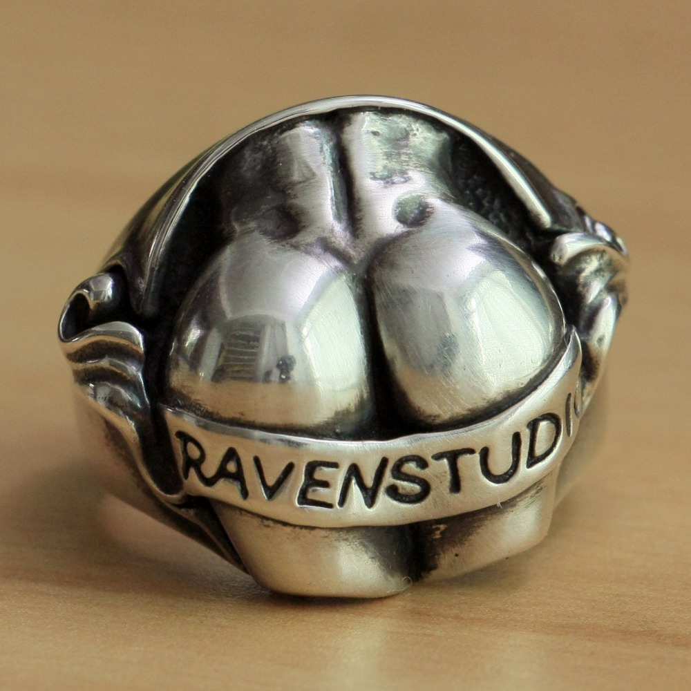 925 Sterling Silver Sexy Hips Buttocks Ring Mens Biker Punk Ring TA15 US Size 7~15