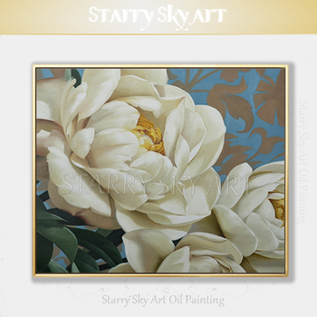 Excellent Artist Hand-painted High Quality Flower Oil Painting on Canvas Beautiful White Flower Oil Painting for Living Room