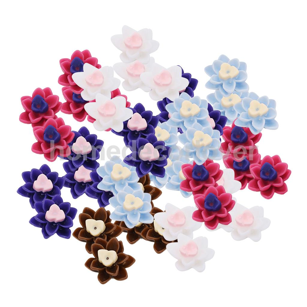 Candid 50pcs Diy Flatback Resin Flower Cabochon Button Scrapbooking Slime Charms Beautiful Flower Flat Backs Buttons