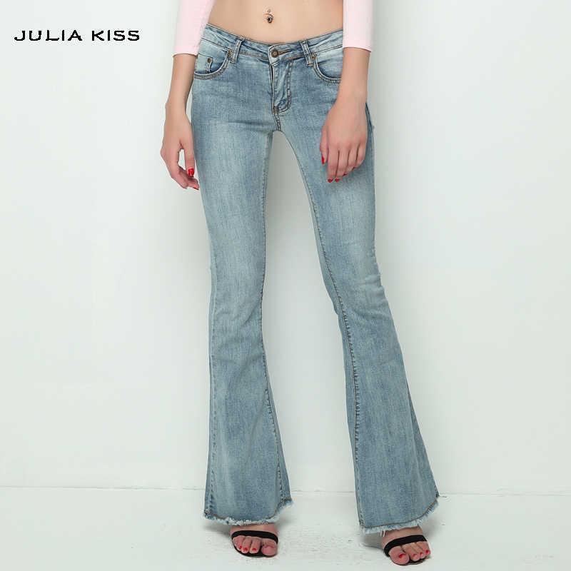 efe52555877 2016 винтажные с низкой талией эластичные расклешенные джинсы женские Ретро  стиль расклешенные джинсы женские темно-