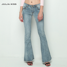JULIA KISS 2016 Vintage Low Waist Elastic Flare Jeans Women Retro Style Skinny Jeans