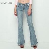 2016 Vintage Low Waist Elastic Flare Jeans Women Retro Style Bell Bottom Skinny Jeans Female Dark Blue Wide Leg Denim Pants