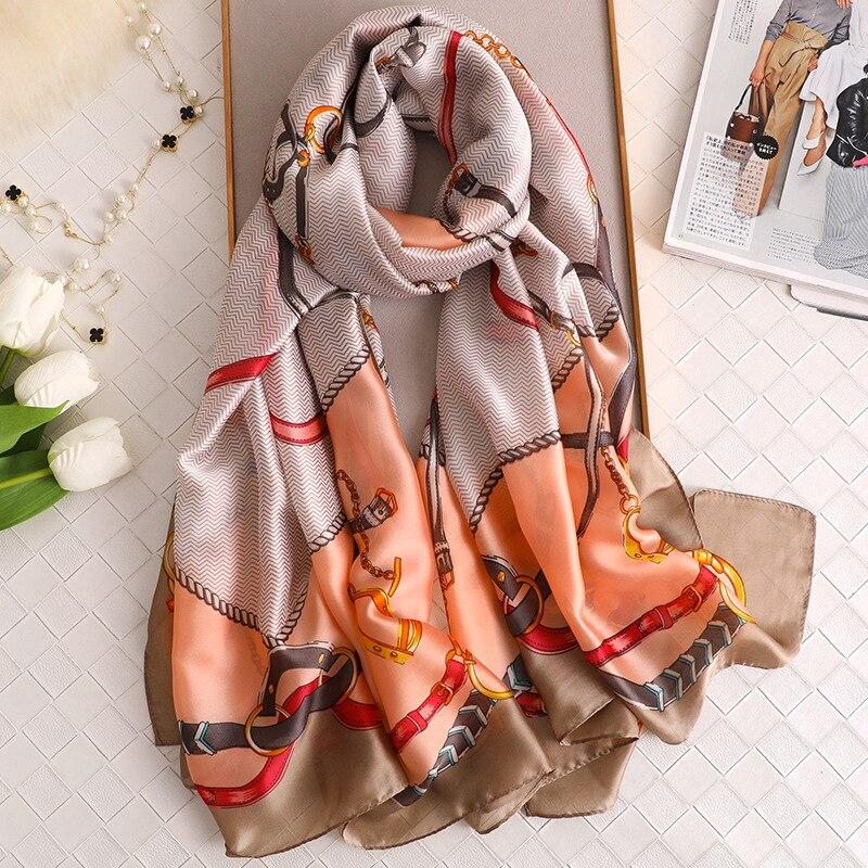 Luxury Women Silk Scarf 2020 Brand Print Foulard Pashmina Hijab Beach Scarves Long Spring Shawls And Wraps