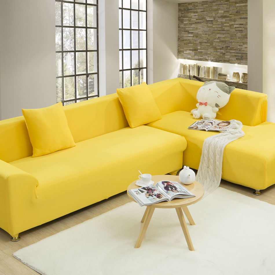 Yellow Universal Stretch Sofa Cover For Living Room Solid