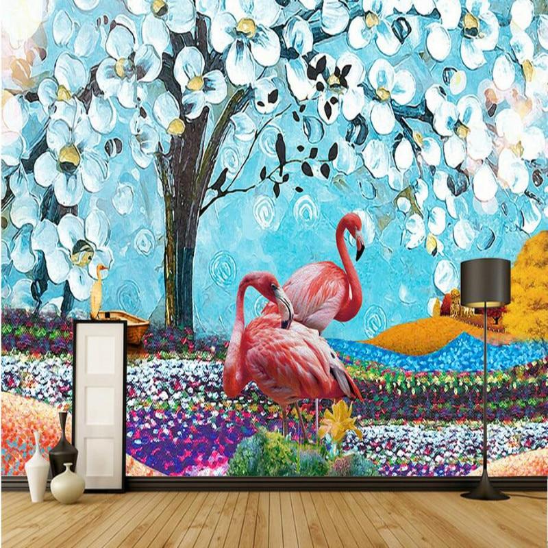 Home Improvement 3D Wallpaper for Wall 3d Decorative Wall Paper Background Tropical Oil Painting Flamingo Wallpaper Murals shinehome black white cartoon car frames photo wallpaper 3d for kids room roll livingroom background murals rolls wall paper