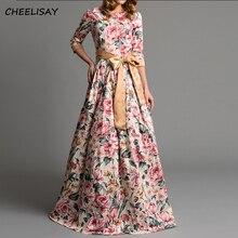 Bohemian printing long dress O-neck three quarter sleeve big hem women spring summer elegant casual vestidos de