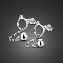 Minimalism 100% s925 silver earrings female cute cat bell pendant design solid not allergic womens jewelry