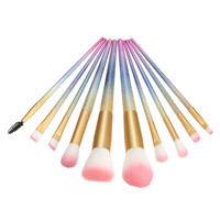 10Pcs Set Makeup Brushes Set Gradient Color Handle Synthetic Hair Foundation Powder Eyeshadow Blush Kits Makeup