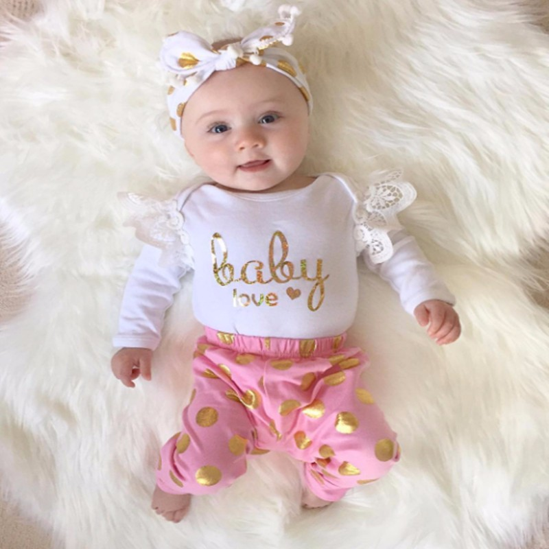 Summer Girls Set Infant Newborn Baby Girls T-shirt Heart Print Tops Pants Clothes 3pcs Purple Pink Outfit Set Clothing Strong Packing Mother & Kids Clothing Sets