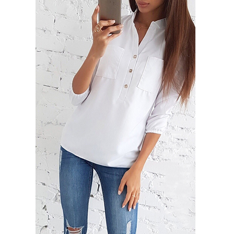 2019 New Women Sexy V Neck Buttons Blouse Shirt Spring Summer Three Quarter Sleeve Black White Office Ladies Tops SJ1474V