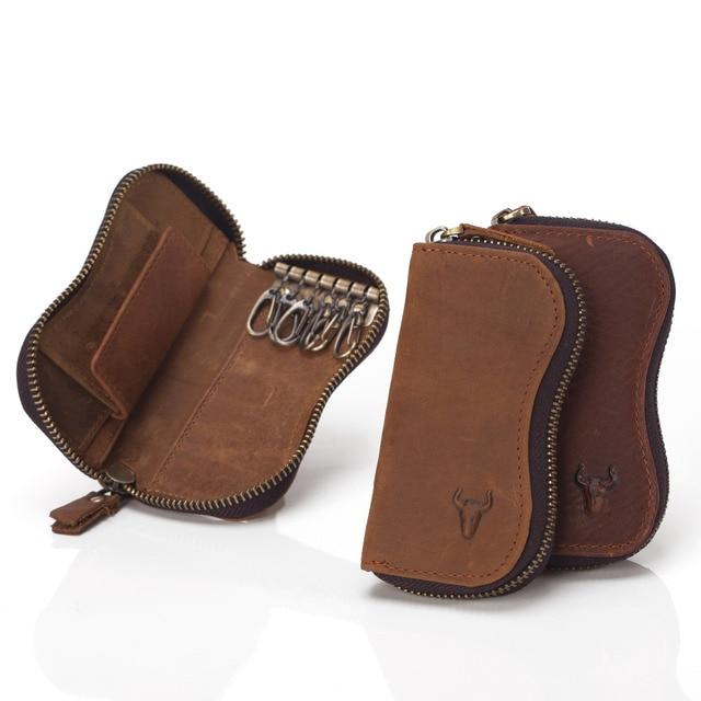 Vintage Portemonnee Dames.Us 14 99 Lauwoo Vintage Lederen Sleutel Houder Multifunctionele Klassieke Crazy Horse Lederen Sleutel Portemonnee Dames Huishoudster Key Case In