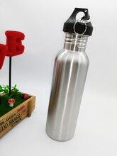 Envío Libre Más Nuevo 750 ML de Boca Ancha de Acero Inoxidable Botella Con Llevar Mosquetón Deportes Al Aire Libre Botella de Agua de la Taza Para El Ciclismo
