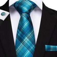 BarryWang 20 Style Plaids Mens Ties For Men Necktie Hanky Cufflinks Fashion Silk 8cm Pink Blue Red Yellow Tie Gravatas Cravatte