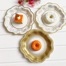 12pcs/set Gold Party Floral Paper Plate Tea Party Picnic Dessert Dishes Tableware Disposable Wedding Decor Birthday decorate