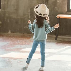 Image 2 - Girl Set Spring Autumn Kids Clothing Set 2019 Solid Sweatshirt + Jeans Pants 2 Pcs Teenage School Girls Lace Sleeves Tracksuit
