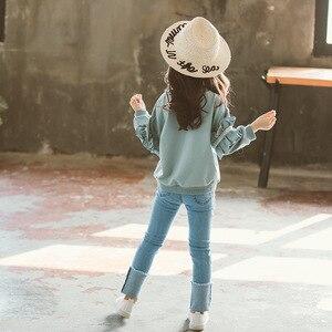 Image 2 - Ragazza Set di Autunno della Molla di Abbigliamento Per Bambini Set 2019 Solido Felpa + Jeans Pantaloni 2 Pcs sacchetto di Scuola Adolescente Ragazze Maniche Lunghe di Pizzo tuta