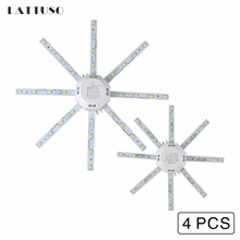 LATTUSO 4pcs LED Light Board Ceiling Lamp 220V LED Bulb Light 12W 16W 20W 24W PCB Board Octopus Tube 5730 SMD Energy Saving Lamp high bright ceiling lamp 12w 16w 24w 220v pcb board modified light source led bulb plate octopus tube energy saving lamp plafon