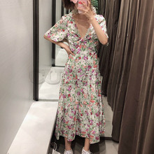 цены на CUERLY women chic floral print maxi dress V neck back cut out design short sleeve pleated casual A line vestidos  в интернет-магазинах