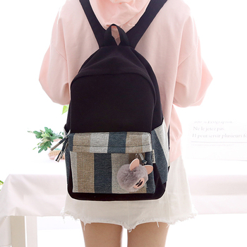 2020  new design stripes girls canvas backpack women leisure bag teenager school student book bag daily  young travel ajalt japanese for young people ii student book