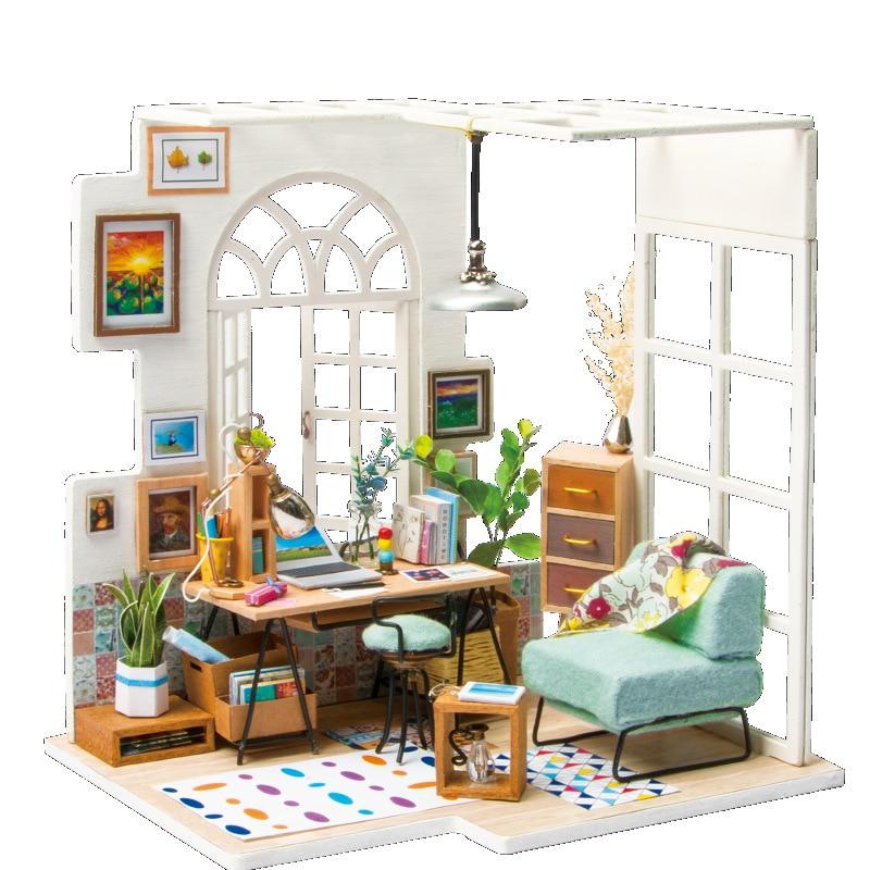 DIY Кукольный дом деревянные кукольные домики миниатюра с мебелью Книги по искусству дом творческий подарок ручной работы Puzzle игрушки модел...