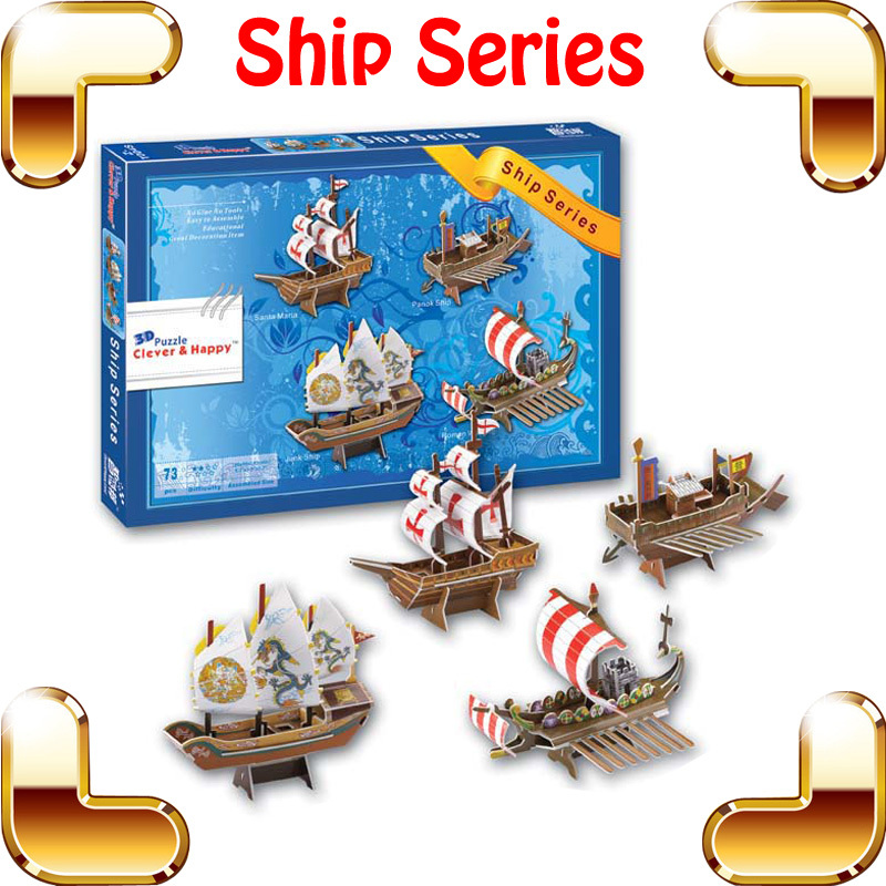 New DIY Gift Z-T008S Ship Series 3D Puzzle Model Ship Mini Flagship Puzzle Children Puzzle Game For Education Toys Collection