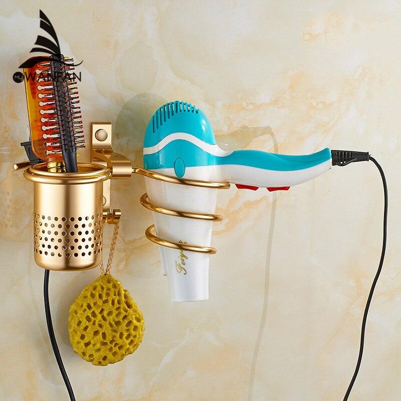 Golden hair dryer rack with cup hair dryer rack Households Rack Hair Blow Dryer Holder Aluminum Shelf Bathroom Accessories 9248