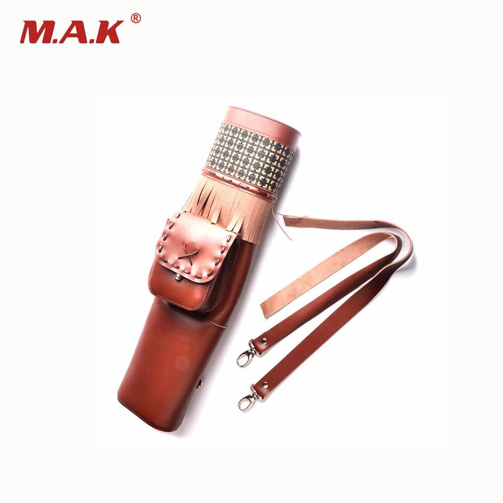 Высокое качество коричневый кожаный стрел колчан 53x13 см стрелка сумка с 3 single point плечо стрелка для проведения стрельба из лука охота