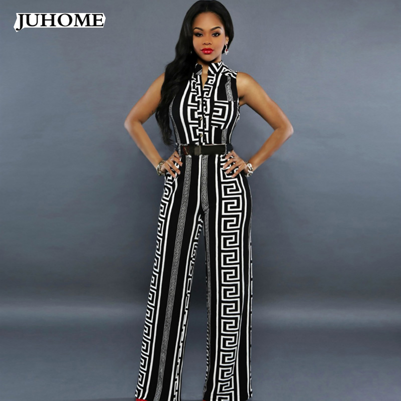 2017 autumn rompers womens jumpsuit Elegant One Piece long wide leg Party bandage printed white black fashion nova dungarees ...