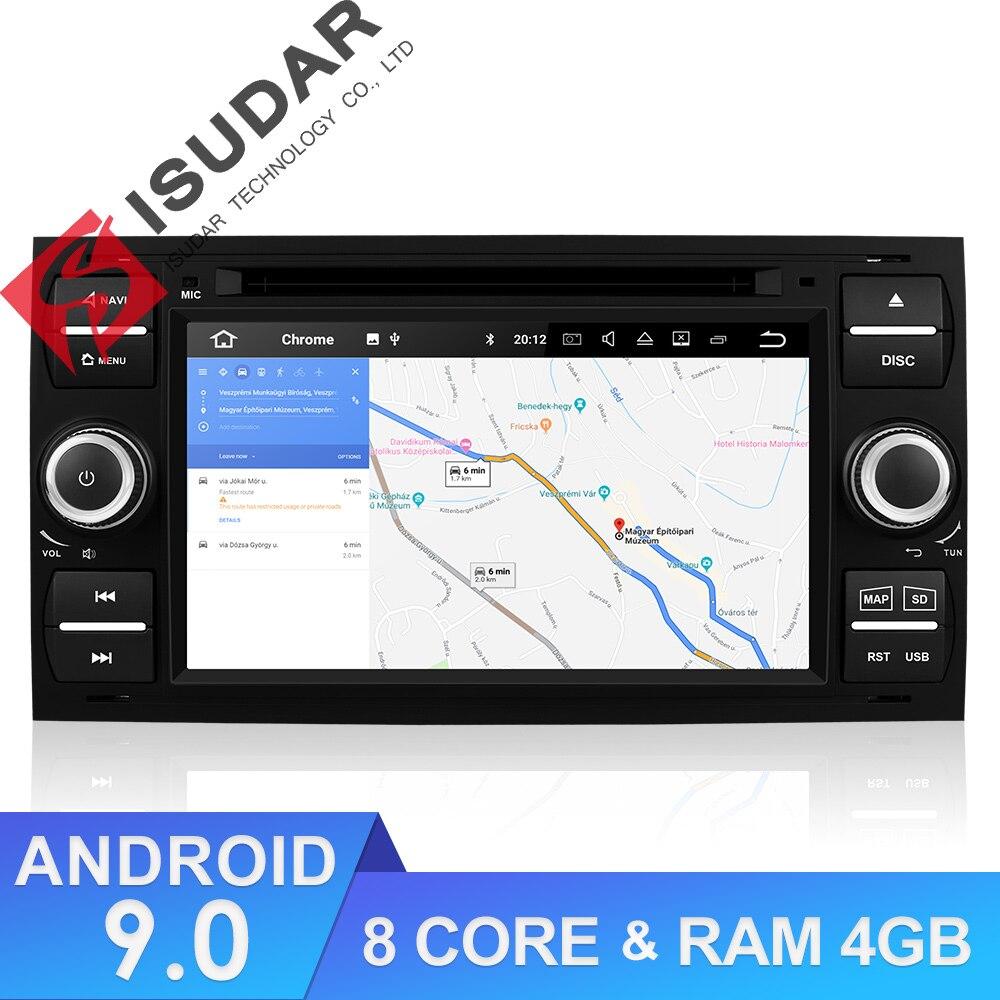 Isudar 9 2 Din Rádio Auto Android Para Ford/Mondeo/Focus/Trânsito/C-MAX Carro DVD Multimídia jogador GPS RAM GB ROM 64 4GB DVR FM DSP