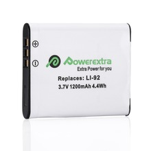 Powerextra 1200mAh 3.7v Battery D-LI92 Decoded Camera Battery For Pentax Optio BATTERY I-10 I10 WG-1 WG-2 WG-3 WG-10 X70