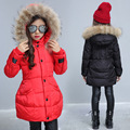 Winter 2016 Children Parka Down Coat For Girls New Arrivals Fashion Solid Fur Hooded Outwear Jacket Padded-cotton Kids Clothing