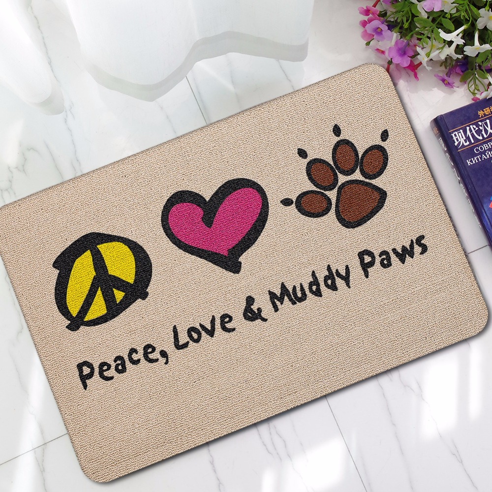 CAMMITEVER Peace Love & Muddy Paws Living Room Bedroom Table Rugs Anit-slip Home Rectangle Floor Carpet