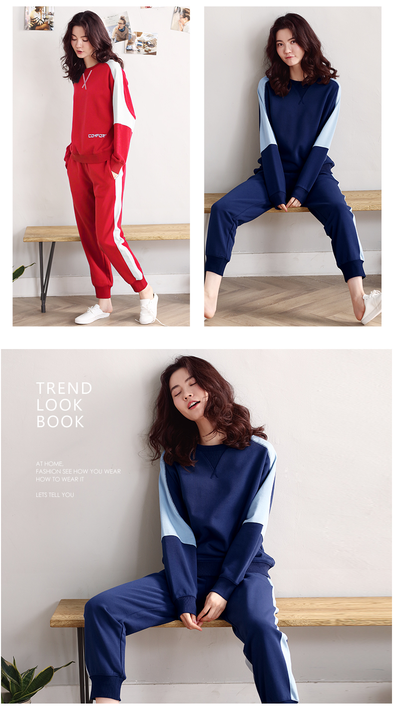 Women\`s sports pajamas autumn cotton long-sleeved home service size ladies suit loose tops plus elastic pants two sets of women\`s pajamas (23)