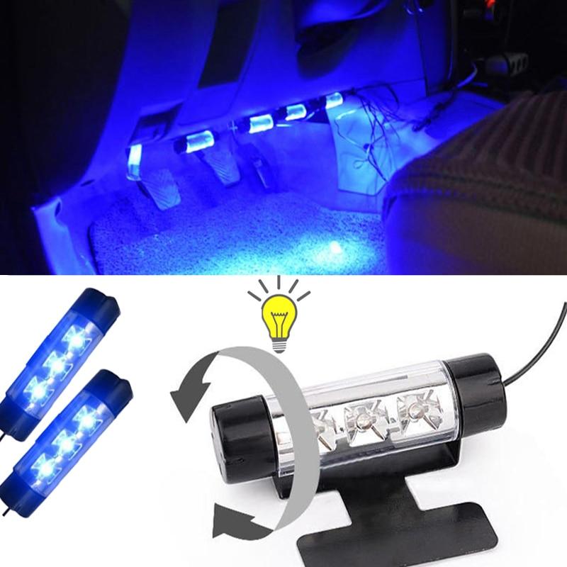 blue 4in1 12v 4x 3led car interior light decorative atmosphere lights car styling lamp for ford. Black Bedroom Furniture Sets. Home Design Ideas