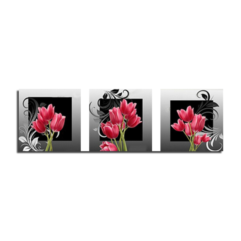 Red tulip <font><b>triple</b></font> 90x30 Needlework DIY Diamond Painting Cross <font><b>Stitch</b></font> Sewing Knitting <font><b>Needles</b></font> Diamond Embroidery
