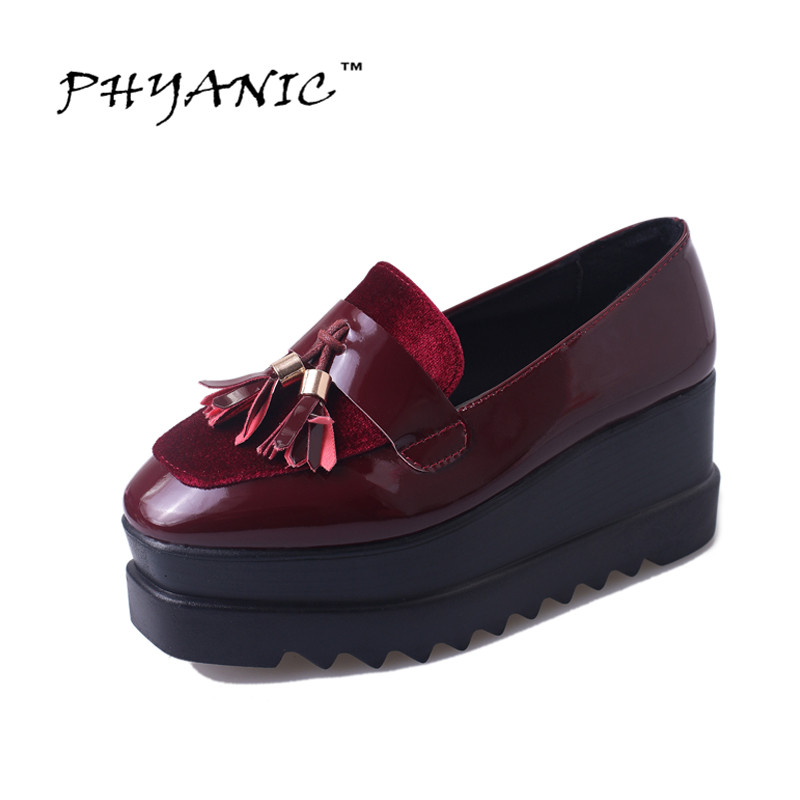 PHYANIC 2017 New Creepers Platform Shoes Woman Tassel Loafers Casual Slip On Flats Patchwork Women Oxfords Shoes PHY3203 phyanic gold silver wedges sandals 2017 new platform casual shoes woman summer buckle creepers bling flats shoes phy4040