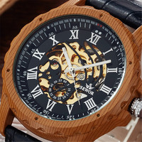 2017 SEWOR Logo Design Hollow Engraving Wood Colour Case Leather Skeleton Mechanical Watches Men Luxury Brand