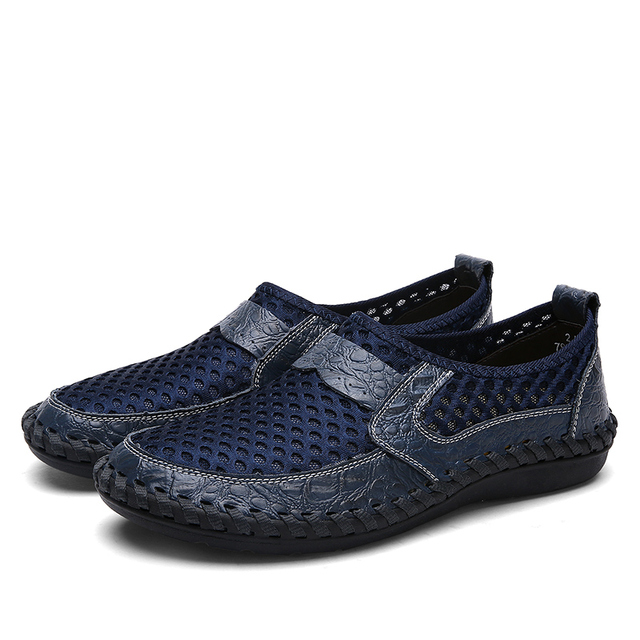 2018 Summer Breathable Mesh Shoes Italy Loafers Mens Casual Shoes Genuine Leather Slip On Brand Shoes Man Soft Comfortable 38-46 2