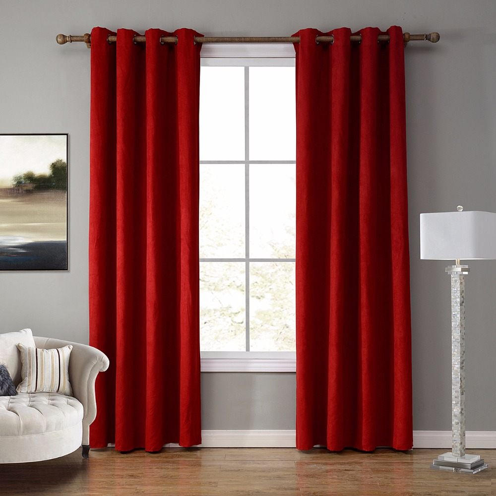 Suede Fabric Thermal Insulated Grommet Curtains For Living Room Bedroom Blackout Darkening Curtain Drapes Red 1 Piece