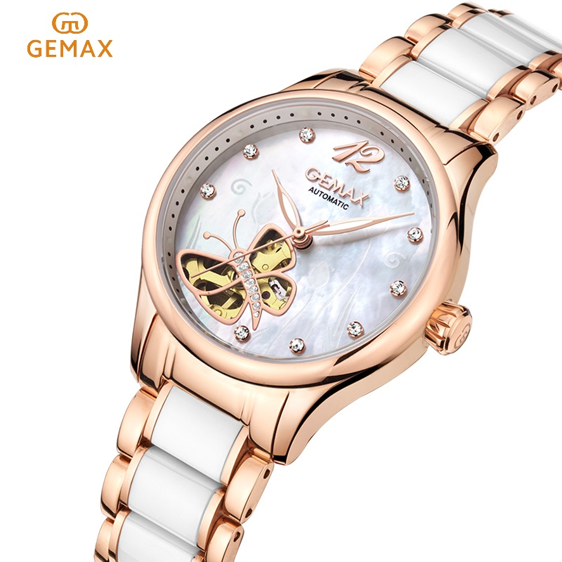 GEMAX Women Watches For Women, Luxury Waterproof Automatic Mechanical Watch,Automatic Self-Wind Age Girl Watch Butterfly Ceramic guanqin ceramic women watch automatic mechanical watches hollow waterproof watch ceramic watch strap rhinestone shell pattern