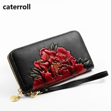 genuine leather wallet women luxury brand clutch purse floral ladies wallets and purses long real leather money bag