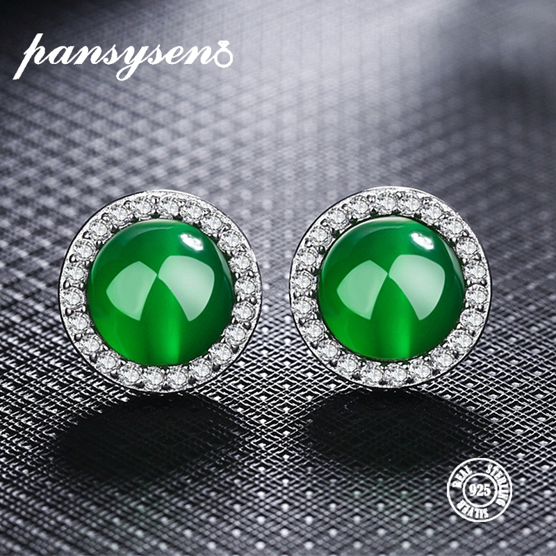 PANSYSEN Natural Green Red Carnelian Stud Earrings Genunie 100% 925 Sterling Silver Womens Earring Party Fine Jewelry Wholesale