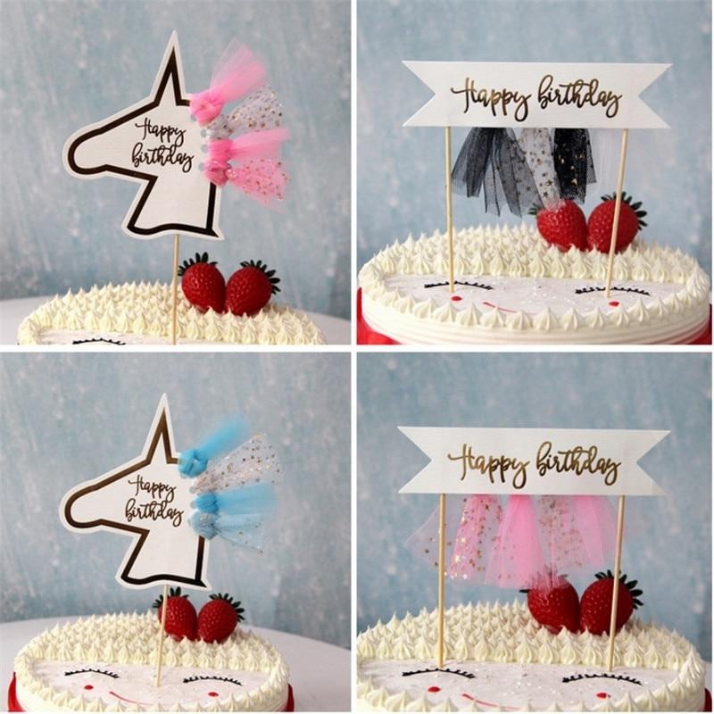 1pcs Tassel Unicorn Happy Birthday Banner Cake Flag Birthday Party Decorations Kids Diy Cartoon Cake Topper Baby Shower S Party Diy Decorations Aliexpress
