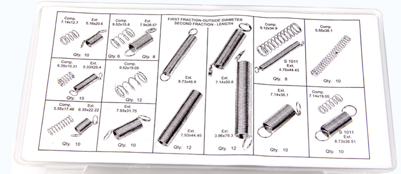 200 Small Metal Loose Steel Coil Springs Assortment Kit tension Compressed