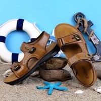 Men Sandals Leather Genuine Leather Summer Mens Beach Sandals Cow Leather Casual Sandals Men Fashion Walking Shoes