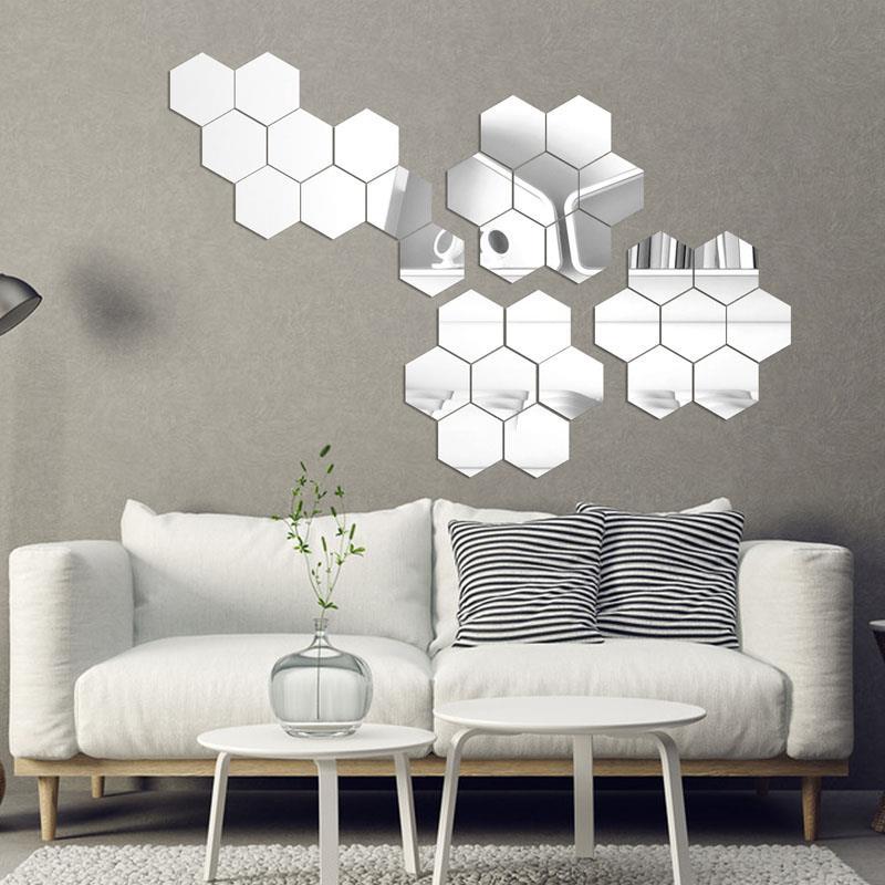 Geometric Hexagon 3D Mirror Wall Sticker,7pieces/lot Extra ...