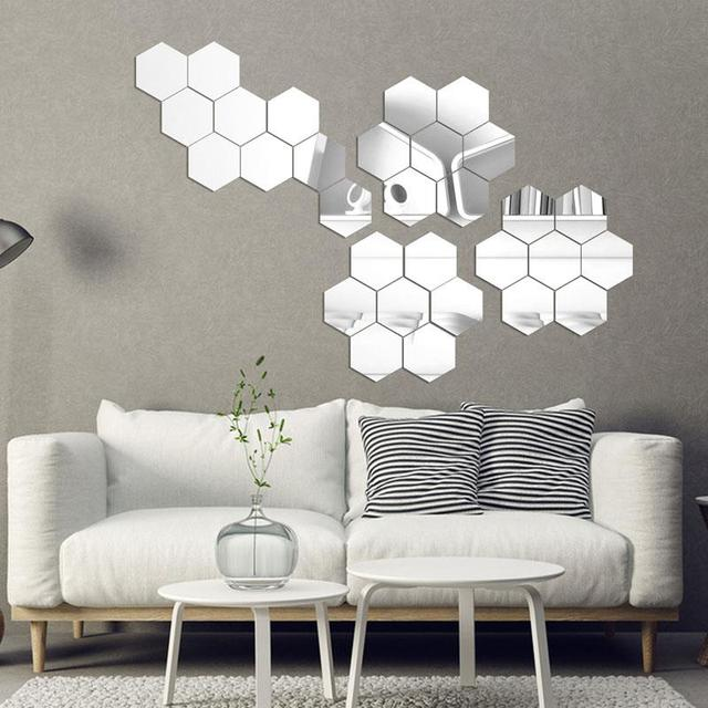 geometric hexagon 3d mirror wall sticker,7pieces/lot extra diy home