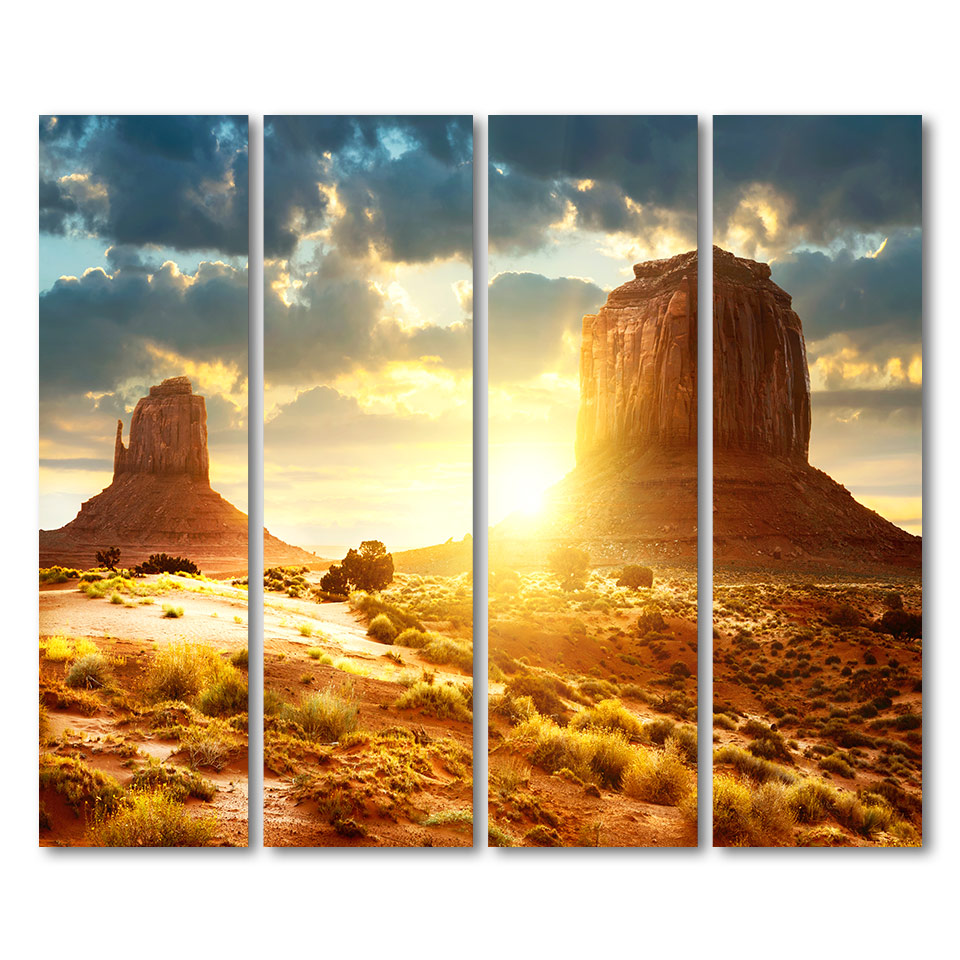 4 piece canvas landscape sunset Stone land artwork posters and ...