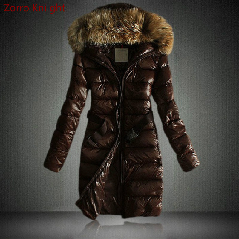 Winter Women Jacket Faux Fur Collar Parka Down Cotton Coats Hooded Padded Overcoat Warm Long Jacket Slim Fit Snow 2 Colors