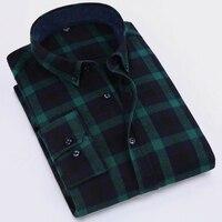 Men Flannel Plaid Shirt 100 Cotton 2017 Spring Autumn Casual Long Sleeve Shirt Soft Comfort Slim
